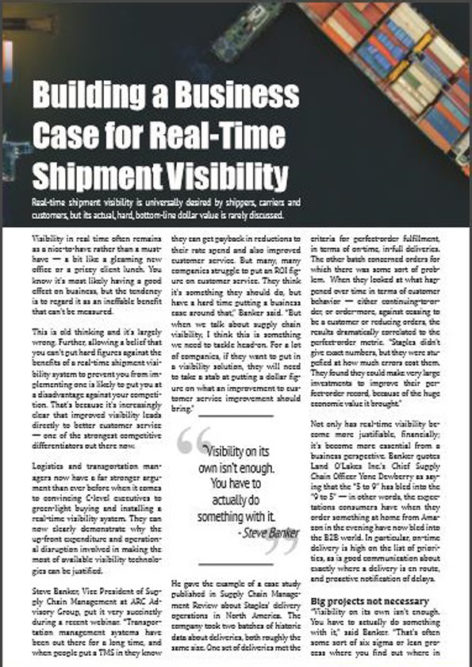 Building a Business Case for Real-Time Shipment Visibility