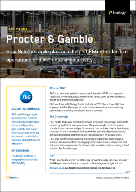 Case Study Procter & Gamble: How Nulogy's agile platform helped P&G standardize operations and increase productivity
