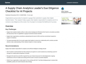 IBM – A Supply Chain Analytics Leader's Due Diligence Checklist for AI Projects