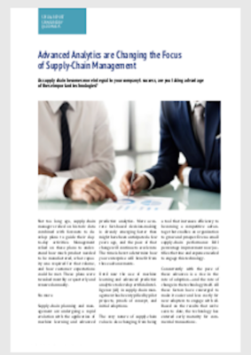 Advanced Analytics are Changing the Focus of Supply-Chain Management