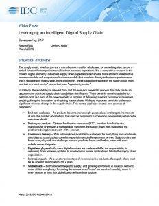 SAP – IDC Design to Operate – Leveraging an Intelligent Digital Supply Chain
