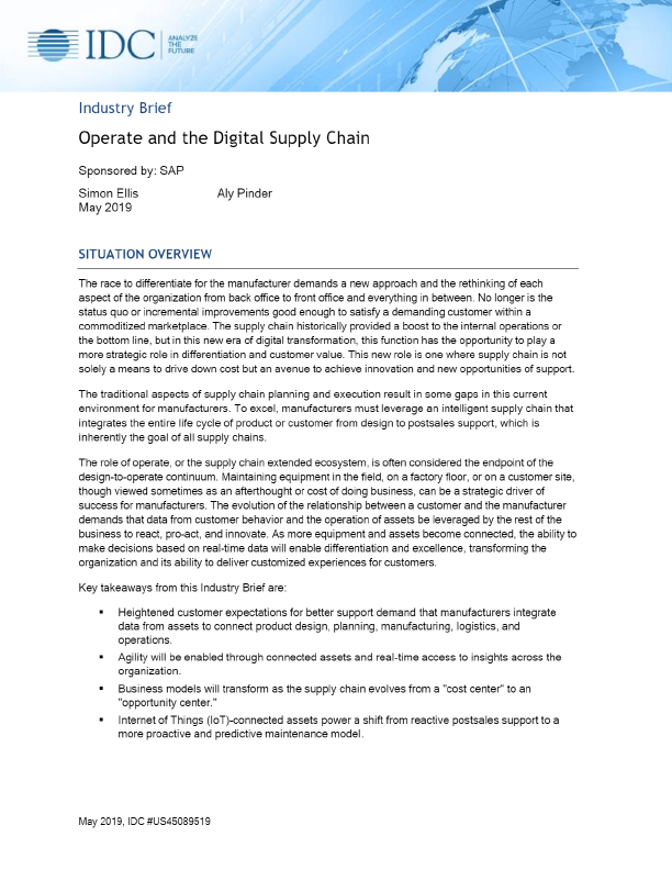 Operate and the Digital Supply Chain